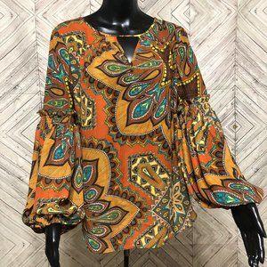 chicos 0  boho tan orange medallion blouse